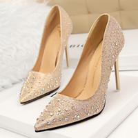 Wholesale new spring factory shoes women fashion rhinestone pointed toe bottom pump lady single OL all match party wedding shoes