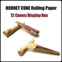 Cheap HORNET CONE Rolling Pa 100% Natural Hemp Rolling Cone Paper 72Cones displaybox 110MM Smoking Rolling Papers, Cigarette RAW Rolling Pape
