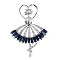 ballerina brooch - Ag010 Off White Gold Plated Alloy Ballerina Brooches For Women Wedding Broches New Arrival Large Clear Crystal Gemstone Brooch Pins