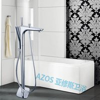 bathtub shower kit - Bathtub Faucets Modern Style Chrome Copper Water Mixers Floor Stand Hand Hold Bathroom Shower Sauna Kit LDTZ009
