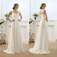 Wholesale 2016 New Romantic Beach A line Wedding Dresses Cheap Maternity Cap Sleeve Keyhole Lace Up Backless Chiffon Summer Pregnant Bridal Gowns