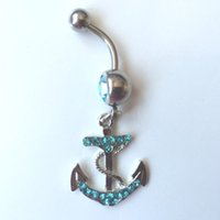 aqua stones - 0032 Nice style anchor design Navel Belly ring AQUA stone drop shipping factory price