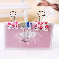 Wholesale 48 Colorful Printing Metal Binder Clips Cute Simple Pattern Paper Clip For Bill File Documents