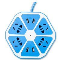 Power Strip New SMART4-USB Forme Circulaire Surge Protector 2000W 110-240V Worldwide Tension Socket Convient pour Home / Office Bleu
