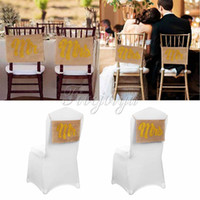 Wholesale 10set Gold Glitter Mr Mrs Chair Sign Fashion Wedding Props Burlap Banner for Wedding Bride and Groom Wedding Party Decor