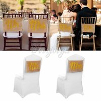 Wholesale Fashion Wedding Favors Sets Gold Glitter Mr Mrs Chair Sign Burlap Banner for Wedding Bride and Groom Wedding Party Props Decor