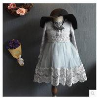 Cheap autumn of 2016 new Korean children girls long sweet long sleeved lace princess skirt ladies dress.