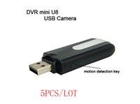 Wholesale 5PCS spy usb disk cameras Mini DVR U8 USB Disk HD Hidden Spy Camera Motion Detector Video Recorder x480 mini camcorders