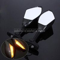 Side Mirrors & Accessories amber motorcycle mirrors - Pair Amber LED Integrated Motorcycle Carbon Turn Signal Adjustable Mirrors