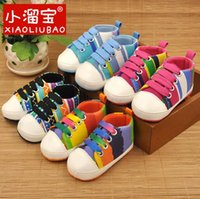Wholesale 2016 Baby First Walkers Newborn Baby Toddler Boys Girls Soft Sole Kids Shoes Canvas Prewalker Lace Up Sneaker M