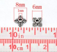 Wholesale 500Pcs Silver Tone Petals Leaves End Beads Caps Jewelry Diy Making Findings Charms Component x6mm