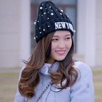 Wholesale Pointed wool cap Five pointed star rivets and pearl decorated knitted hat Winter warm hat Fashionable cloches