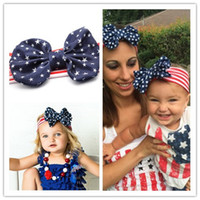 Wholesale 2016 Infant Stars stripes Headbands Girl Bow Headwear Kids Baby Photography Props NewBorn Bow Hair Accessories Baby Hair bands