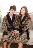 bathrobe plus size - New Winter women and men s high quality Coral fleece bathrobe leopard Robe Men sleepwear night gown Plus Size Free