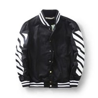 Wholesale Fall top quality Off white blue collar stripe vasity jacket men s jacket off white c o virgial abloh