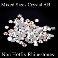 ab cases - Mixed Sizes White Crystal AB Non Hotfix Crystal Rhinestones Strass Glue On Diamond DIY Nails Art Phone Cases Garment Accessories
