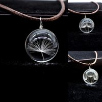 Wholesale Charms Dandelion Glass Cameo Ball Pendant Leather Waxed Cotton Necklace Fashion Jewelry