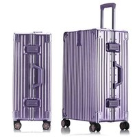 aluminum suitcases - 26 inch Aluminum frame Drawbars PC luggage scratch resistant matte wrap angle vintage suitcase trolley bags valise travel case