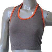 Ballet ballet bras - Gray with Orange Cotton Lycra Halter Bra Dance Top for Ladies and Girls Full Sizes Colors Available