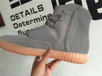 Wholesale TOP Kanye West Boost quot Light Grey quot Glow in the Dark Men s Fashion Sneakers Boot Casual Sports Shoes Size Free DHL Shipping