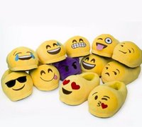 Wholesale 2016 Emoji Slippers Cartoon Plush Slipper Home With The Full Expression Women Men Slippers Winter House Shoes One Pair