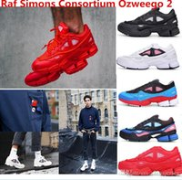 Wholesale 2016 newest top quality Raf Simons Consortium Ozweego Fashion Sneakers Mens and Womens Running Shoes Black White Red Size US5 US11 real pi