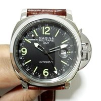 Cheap Free Shipping Marina Militare 44mm Black Dial Luminous Hands GMT SeaGull Automatic Watch Brown Strap MENS WATCH High Quality