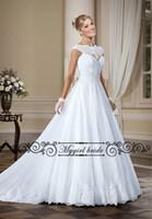 Wholesale Cheap Lace Gowns China - A-line Lace Scalloped Neck Wedding Dresses Cheap Vintage princess Applique Lace Bling Wedding Gown Bridal Dresses China