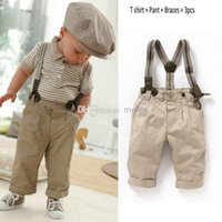 bib overall shorts - Hot Sale New Boys Baby Clothes Toddler Set Gentleman Overalls Outfit Top Bib Pants Boy striped suit kids Children s Clothing