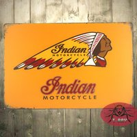 Wholesale INDIAN MOTORCYCLE CUSTOM MAN CAVE CEDAR FRAMED RETRO WEATHERED METAL BAR SIGN C