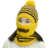 Wholesale Women Winter Mustache Knit Pom Pom Beanie Hat Mask Scarf