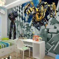 Wholesale Yellow robot D broken wall aircraft non woven wallpaper