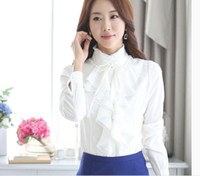 Wholesale Render ms han edition of new fund of autumn winters collar professional white long sleeved shirt chiffon ruffled shirt students