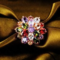 Cheap Free Shipping Wholesale Peridot Garnet Citrine Amethyst 925 Silver Ring Size 7 8 9 10 11 12 13 Jewelry Flower Design