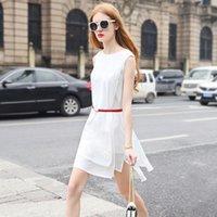 Wholesale 2016 Summer New High grade Women clothing Fashion Pure color Round collar Sleeveless Skirt Chiffon Dress