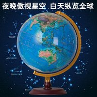 art deco side tables - 32CM LED Geography Double side Printing Mountain Star Signs Globe Table Light Wood Base Home Office Decoration Teaching Lamps