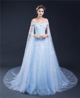 Cheap 100% Real Picture In Stock Cap Sleeve A-line Prom Dresses 2016 Light Blue Appliques Evening Prom Party Gown Designer Occasion Dresses