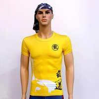 Wholesale New Short Yellow Quick Dry Sport T shirt Tights Sports Wushu Bruce Lee T shirt