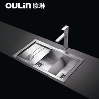 Wholesale OULIN sink double trough HR84480 stainless steel sink package thickened mm