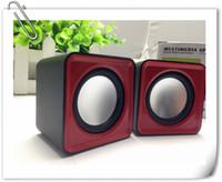Wholesale Personality Luminous Desktop PC Laptop Speakers USB Mini Subwoofer Small Stereo Computer Speakers Square Portable Mini Speaker