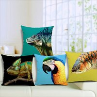 animal land - Magical Creative Land Biology Arowana Chameleon Animal Parrot Pillows Shell Back Sofa Living Room Castelo Frozen Cushion Covers Window Decor