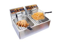 Wholesale 220V L Double Sieve Electric Fryer Double Cylinder Potato Chicken Frying Pan