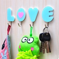 acrylic bathroom accessories - 4pcs Acrylic LOVE sticky hooks decorative wall hooks hangers for clothes keys coat Bathroom Kitchen Accessory home decor