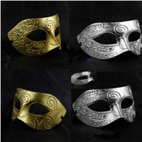 ancient greek customs - Duplicate Ancient Customs Greek Roman Warriors Mask for Men Fashion Coloured with Golden and Gray for Fancy Dress Party