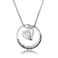 Wholesale Women I Love You to the Moon And Back engraved pendant necklace hollow love heart necklaces jewelry gift