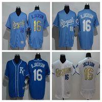Wholesale New Kansas City Royals Player Version Jersey Mens Bo Jackson Sky Blue Flexbase Collection Baseball Jersey Best Quality