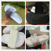 athletic slide sandals - 2016 New Women Sexy Rihanna Leadcat Fenty Air Slippers Girls Fashion Indoor Slide Sandals Scuffs Grey Pink Black White US5