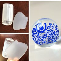 Wholesale New Milky White Clear Jelly Stamper cm Transparent Nail Stamping Stamp Scraper Polish Print Transfer Nail Stamper Tools