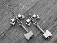 axe earring - 10pairs Silver Axe Earrings Axe Jewelry Bow Earrings Gothic Goth Horror Movie Jewelry