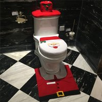 Wholesale Christmas Interior pc set Christmas Decoration Xmas Happy Santa Toilet Seat Cover and Rug Bathroom New Year home decorations